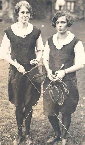 Vintage lady fencing