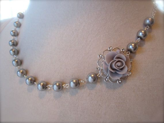 Gray silver Wedding Necklace Asymmetrical Choker gray Flower Necklace Bridesmaids Jewelry gift Pearls Rose necklace Shabby chic Victorian