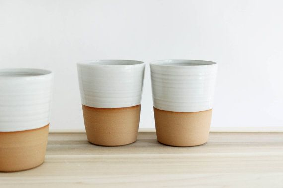 Four mugs without handles white minimalist by juliapaulpottery, $100.00