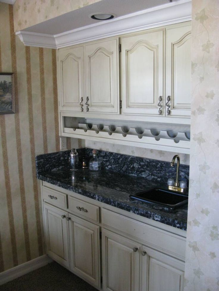 Faux finish applied to existing oak cabinets - painted and ...