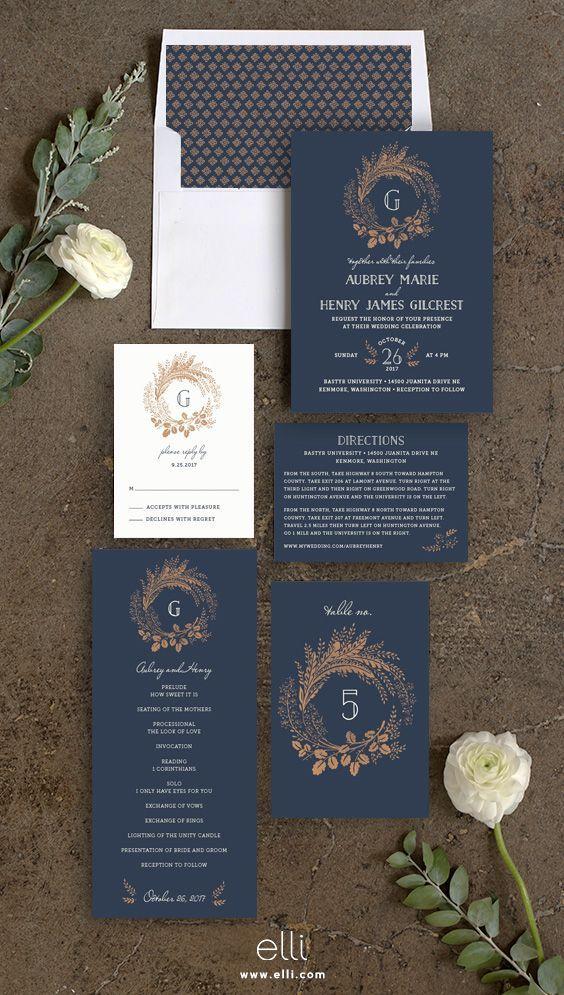 Woodsy Wreath wedding invitation suite in navy