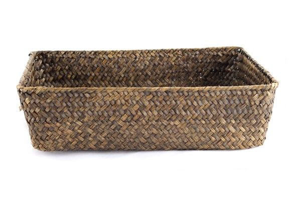 Dark Brown Rectangular Basket 13'' x 9'' x 4''-AX310