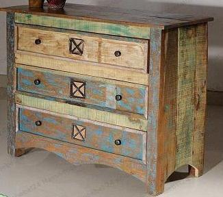 Schubladenkommode  Mango Holz massiv  3 Schubladen  ca. B 100 cm/ H 90 cm/ T 40 cm  Metallapplikationen  Vintage Look gebeizt und lackiert