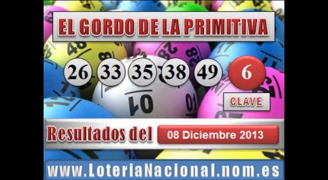 El Gordo de la Primitiva sorteo Domingo 8 Diciembre de 2013. Fuente: www.loterianacional.nom.es