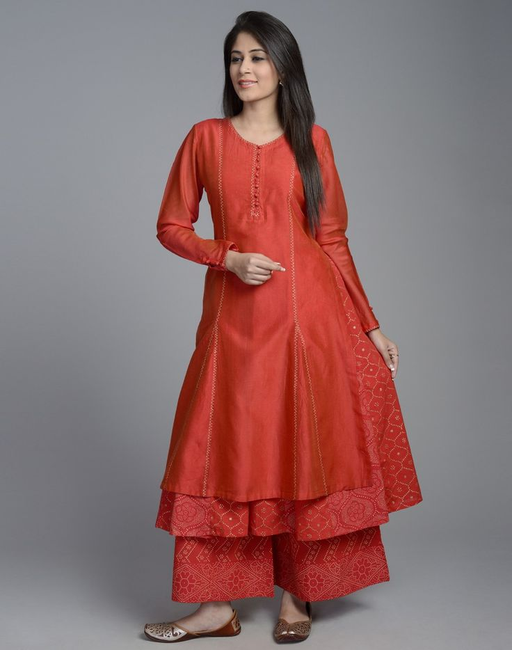 Silk Cotton Double Layered Long Kurta