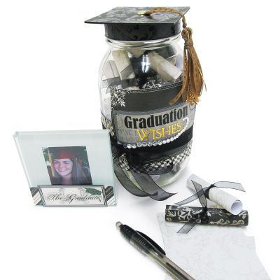 """Graduation Gift Set:  Let those that love your graduate leave a small note with well wishes in the """"Wish Jar"""" and make sure to place a photo of your childs proudest moment, the cap and gown photo, next to the wish jar!!!"""