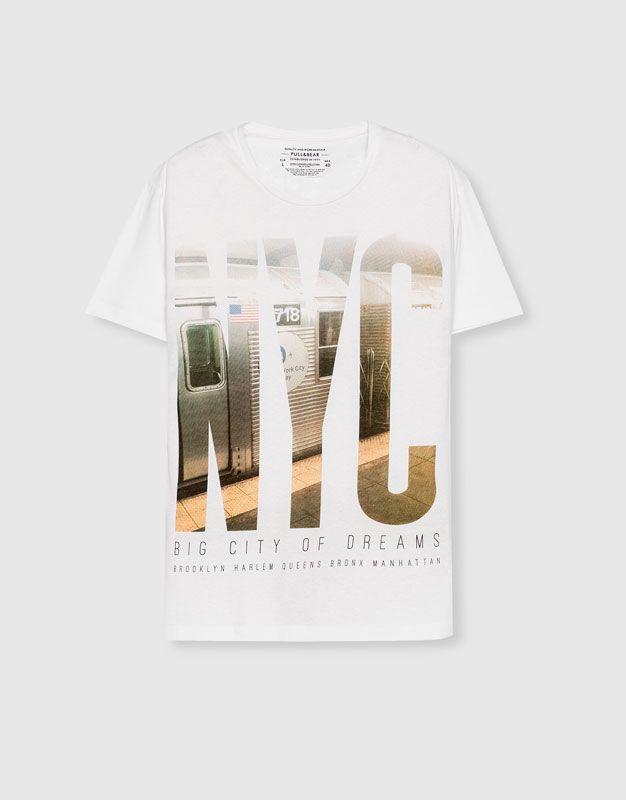 T-shirt estampado eua - Blusas - Vestuário - Homem - PULL&BEAR Portugal