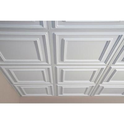 Ceilume Cambridge White 2 ft. x 2 ft. Lay-in or Glue-up Ceiling Panel (Case of 6)-V3-CAMB-22WTO - The Home Depot