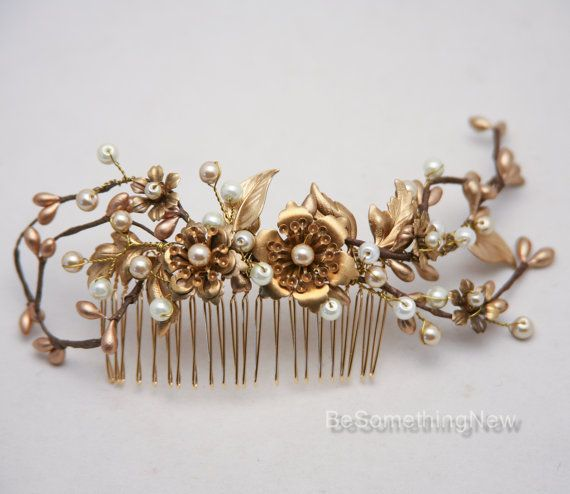 Rustic Gold and Bronze Wedding Hair Comb Golden by BeSomethingNew