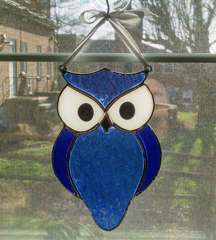 Stained Glass Owl Suncatcher - Bird Ornament - Window Decor - Blue Owl - Nature Decor - Housewarming Gift by StainedGlassYourWay on Etsy