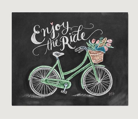 Fahrrad-Kunst  Fahrrad-Print  Kreide Kunst  genießen von LilyandVal