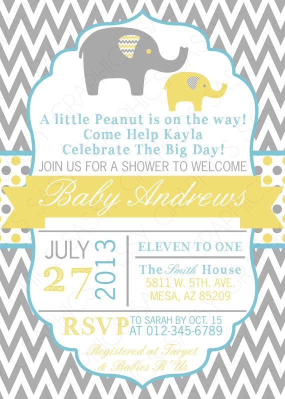 baby shower invitation baby boy invitation grey yellow blue elephant