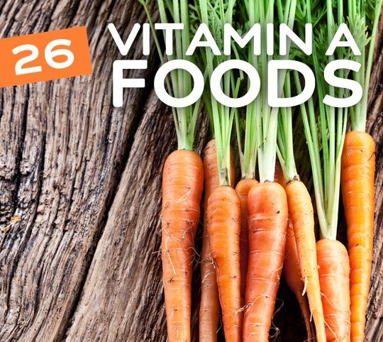 26 Vitamin A Rich Foods- essential for healthy eyes & vision. Also dark circles around the eyes.