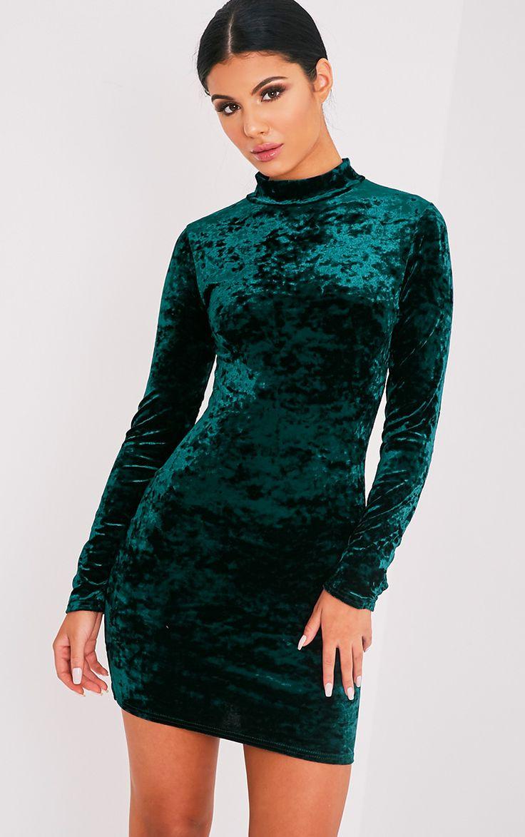 Look for less velvet dress on the hunt - Karsia Emerald Green Velvet High Neck Ruched Bodycon Dress Image 1