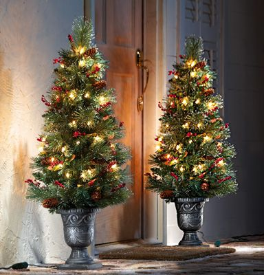 Lighted Rustic Christmas Floral Topiary Porch Tree - 42