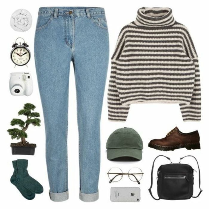 what did people wear in the 80s, light blue jeans with rolled legs, cropped chunky knit striped turtleneck, green baseball cap and brow brogues, black mini backpack socks round glasses, phone alarm clock scarf camera bonsai plant
