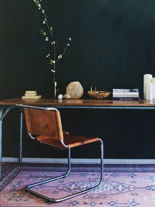 office with black walls and bohemian modern furnishings / sfgirlbybay