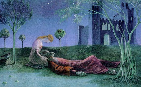"Rose finds Beast at death's door. Binette Schroeder. ""Beauty and the Beast,"" Walker Books, 1986"