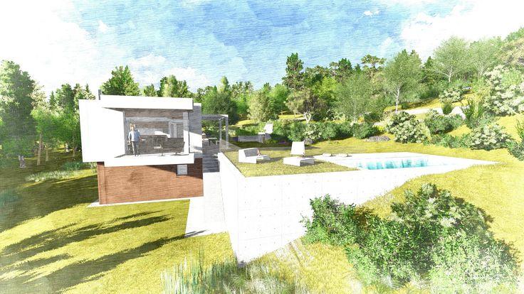 casa in legno con tetto giardino nel 2020 | Case di legno ...