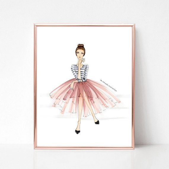 Tutus + stripes, fashion illustration print, art print, sketch, croquis,