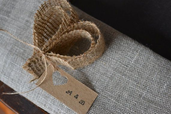 50 Burlap Heart Wedding place setting/name tags by LaPommeEtLaPipe