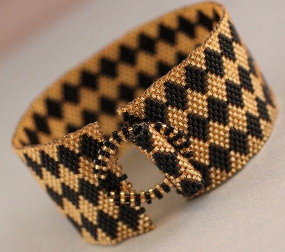Peyote Bracelet Gold and Black Peyote Diamond by KathysDesignsLLC