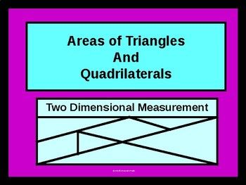 Here we present students with formulas to solve for AREAS of Triangles and Quadrilaterals; specifically,triangles, rectangles, rhombus', squares, trapezoids, and kites are in focus. Examples are offered and the steps to solve are listed and worked out,