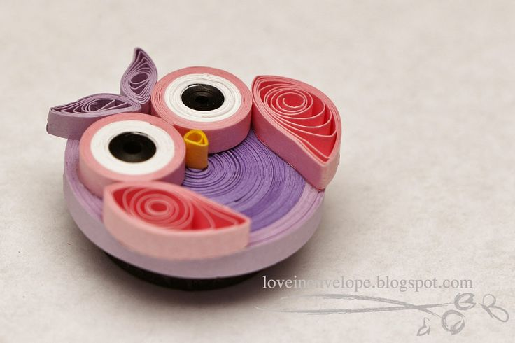 Love in Envelope: Quilled Owl Magnet