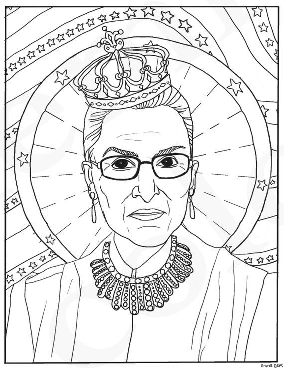 Ruth Bader Ginsburg Rbg Supreme Court Justice Feminist Coloring Rhpinterest: Coloring Pages Of Hearts With Wings At Baymontmadison.com