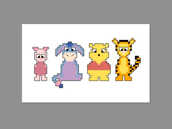 Winnie the Pooh Babies Pixel People Character Cross Stitch PDF PATTERN ONLY