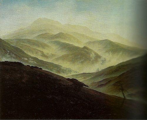 Paisaje de las Montañas de Silesia Caspar David Friedrich 1815-1820 Óleo sobre lienzo 54,9x70,3cm  Es un cuadro de un panorama desolado, ligado a las ideas poeticas, puede hacernos pensar en el espíritu de los paisajes chinos.