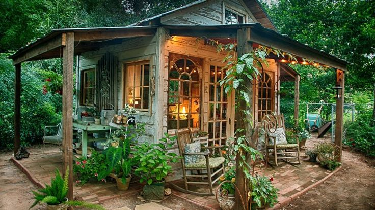 The female form of the man cave is the She-Shed, complete with windows, landscaping, heating, cooling, a roof, lighting and decorated to your heart's content