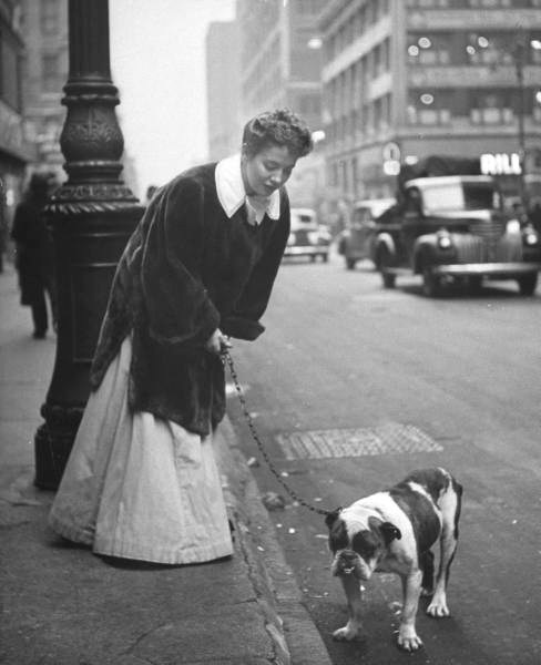 Actress Joan Roberts dressed in her costume for the musical Oklahoma, walking her English Bulldog Goggles near the theatre, during a matinee intermission-NYC - Photo by Nina Leen - 1944