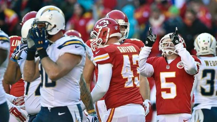 Kansas City Chiefs kicker Cairo Santos (5) celebrates a third quarter field goal during Sunday's football game against the San Diego Chargers on December 28, 2014 at Arrowhead Stadium in Kansas City, Mo.