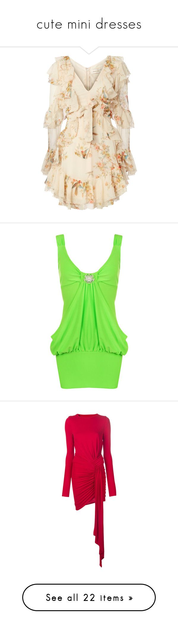 """""""cute mini dresses"""" by isaiahkiss ❤ liked on Polyvore featuring dresses, print, zimmermann dresses, zimmermann, ruffle trim dress, pink frilly dress, flounce dress, fluorescent green, stretchy dresses and neon green dress"""