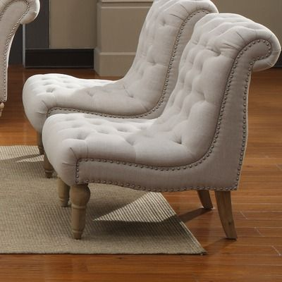 Emerald Home Furnishings Hutton Nailhead Armless Accent Chair - I love the idea of two slipper chairs side by side in lieu of a loveseat. More versatile seating options for my small apartment space.