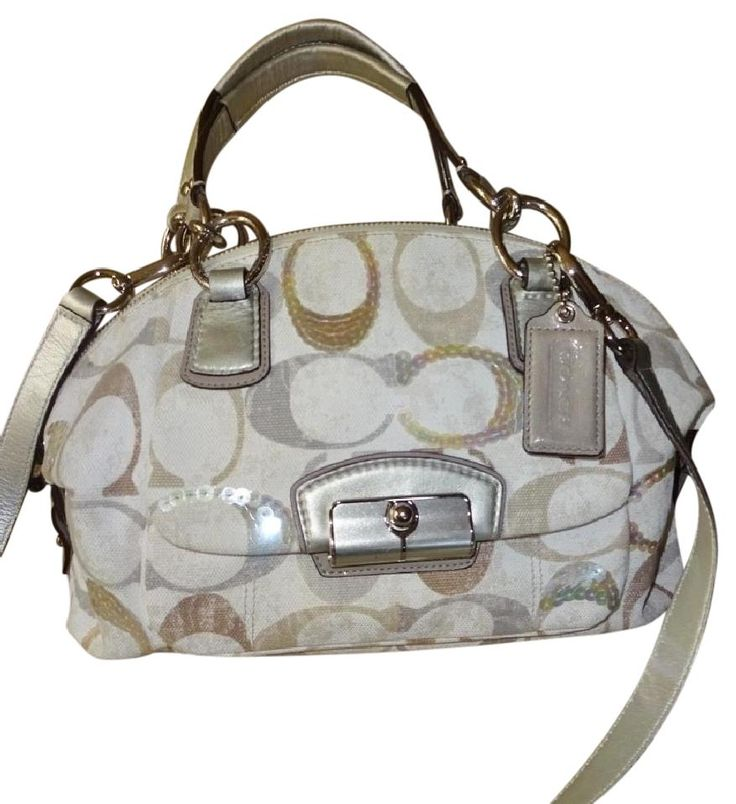 Coach Satchel in Ivory/Taupe/Gray