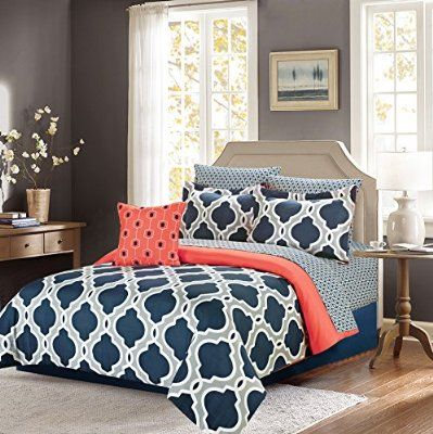 Queen Comforter Bedding Set with Sheets, Navy Blue and Gray Quatrefoil, 8 Pc. Bed in a Bag