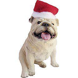 Sandicast White Bulldog with Santa Hat Christmas Ornament