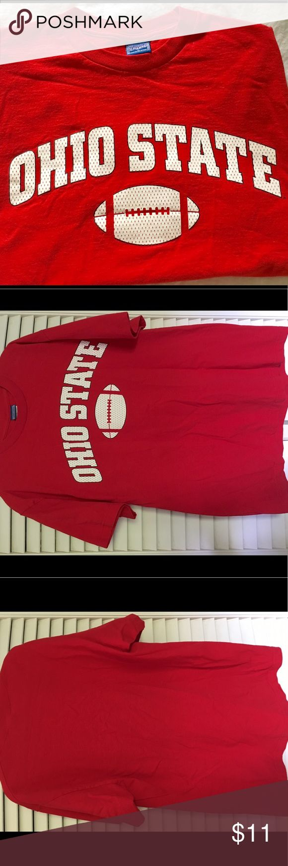 Men's Ohio State football T-shirt like new, size M A must for the Buckeye fan!  This bright red cotton T-shirt has been worn once. Has the Ohio State logo in white, which is meant to look like football jersey material. Smoke-free, no stains, no rips, still nice and crisp and ready for your closet. Gildan Shirts Tees - Short Sleeve