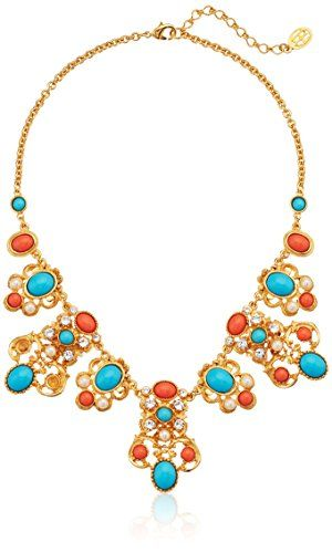 Ben-Amun Women's Santorini Gold Turquoise Pearl Crystal Drop Station Necklace xgPUKkjdod