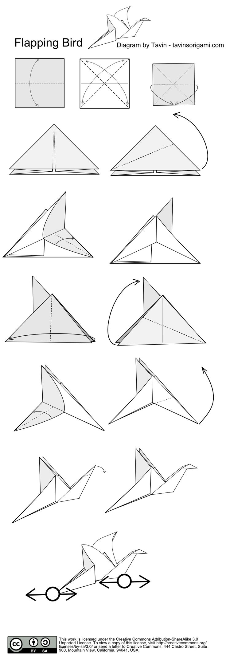 Flapping Bird Origami-Instructions - Tavin's Origami