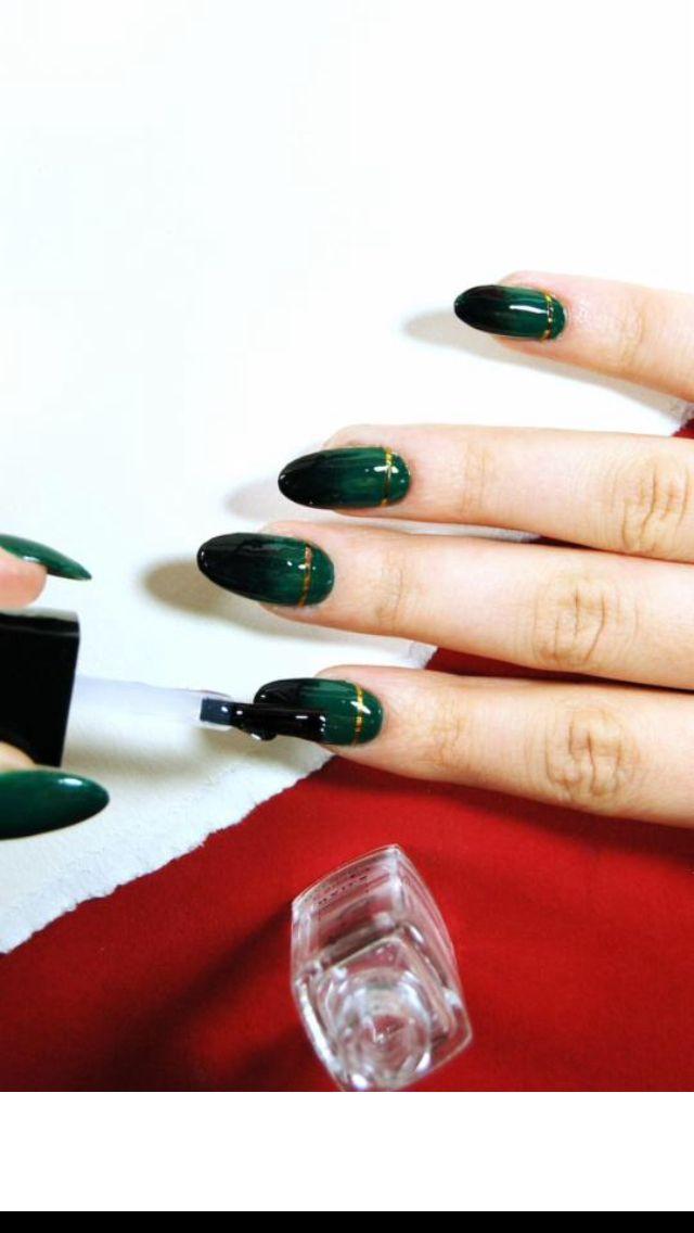 """Emerald nails - Could be a """"Loki"""" nail art"""