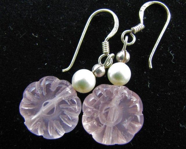 24 Cts  Rose Quartz in Silver  EARRINGS     MJA 621  ROSE QUARTZ EARRINGS  GEMSTONE SET JEWELLERY AT GEMROCKAUCTIONS