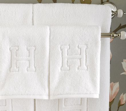 AUBERGE Monogrammed Guest Towels By Matouk Luxurious Monogrammed Towels  With Decorative Capital Letter In Relief,