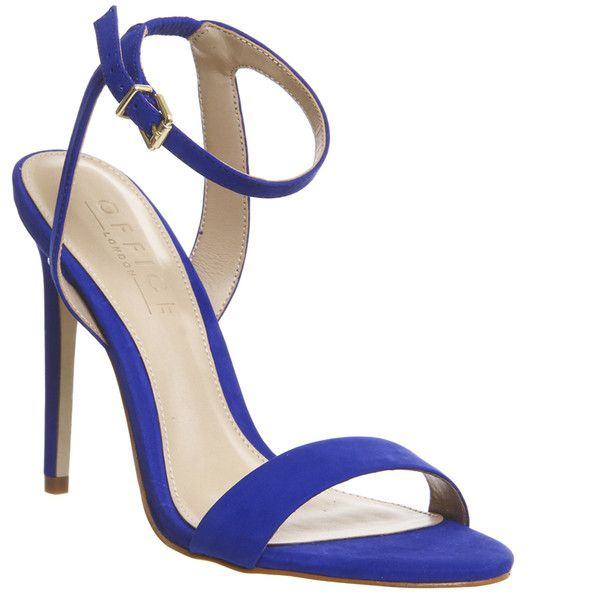 Office Alana Single Sole Sandal (£55) ❤ liked on Polyvore featuring shoes, sandals, high heels, royal blue nubuck, women, strappy stilettos, royal blue sandals, high heel sandals, office shoes and high heel shoes