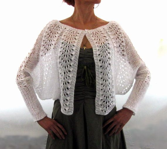 Elegant Hand Knitted  Lace  Bolero  Vest with sleeves  by Rumina, $88.00