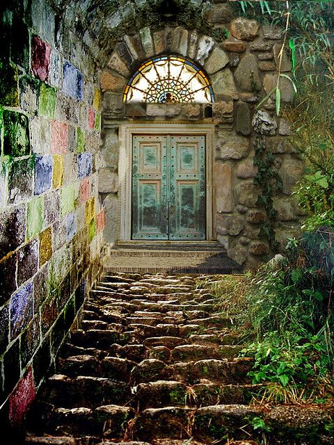 In a place far, far away...: Outdoor Wall Art, The Doors, Secret Gardens, Stairs, Atlanta Georgia, Colors, Portal, Old Doors, Botanical Gardens