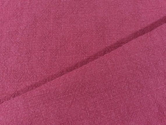 Linen – Washed Linen - Raspberry – 100% Linen- Fabric by Meter/ Yard - Clothing…