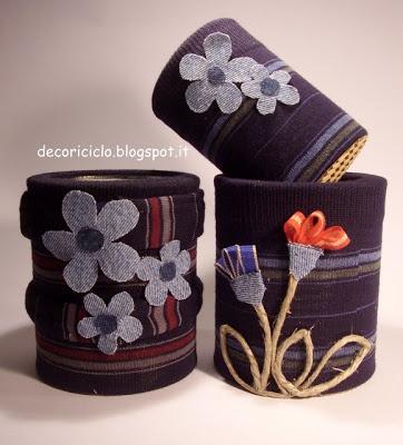decoriciclo: Vestire i barattoli dei pelati con le calze